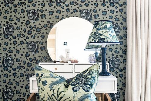 Bubastis Wallpaper in Sea Foam-Blue
