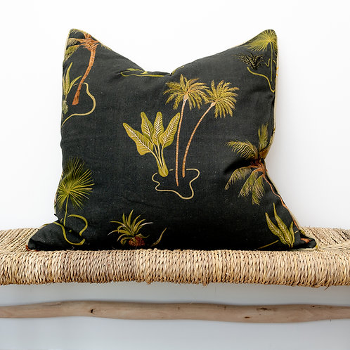 Large Reversible Linen Cushion in Solitude Charcoal & Sand