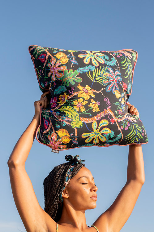 Large Silk Cushion in Ophelia French-Navy