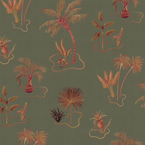 Solitude Olive-Green Wallpaper Sample A3