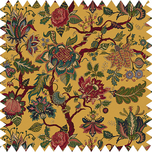 Cotton-Linen Fabric Sample in Eden Mustard