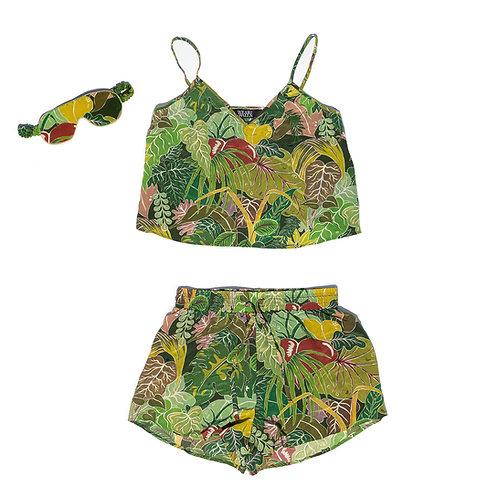 Penelope Silk PJ Set in Serendipity Jungle-Green