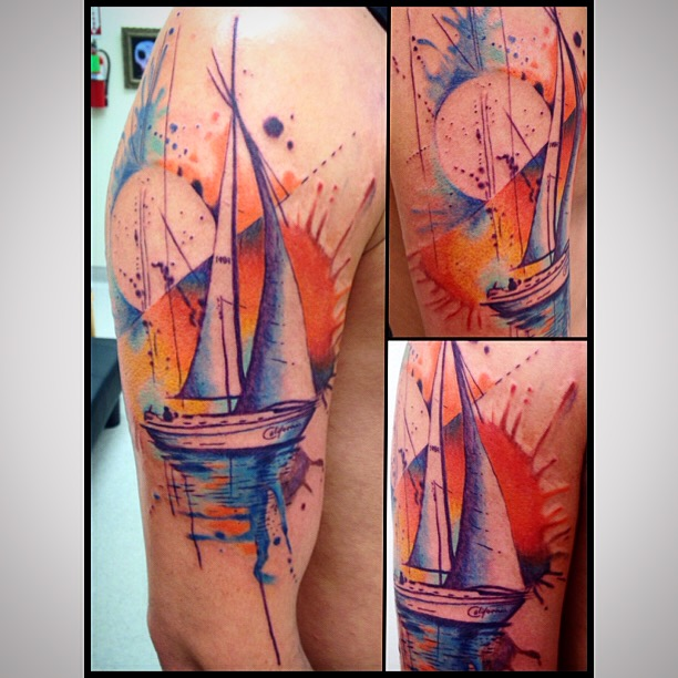 Sailboat tattoo by Heather Pilapil