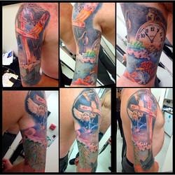 Arm sleeve tattoo by Heather Pilapil