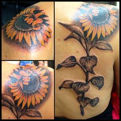 Sunflower tattoo by Heather Pilapil