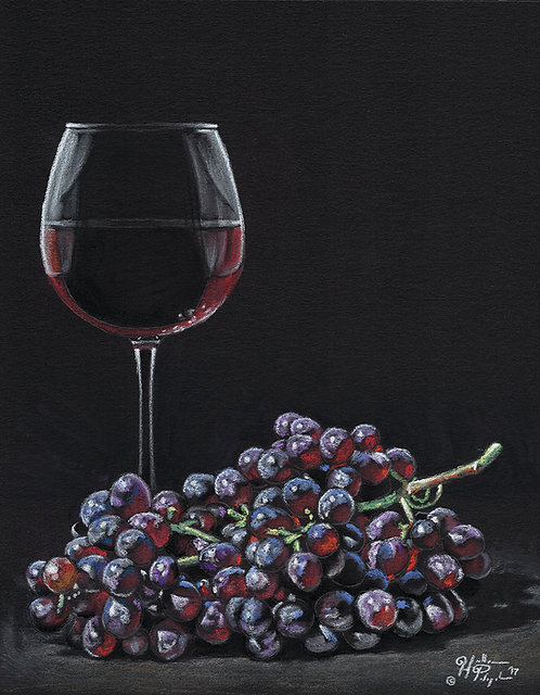 "Limited Edition Print of ""Wine and Grapes"""