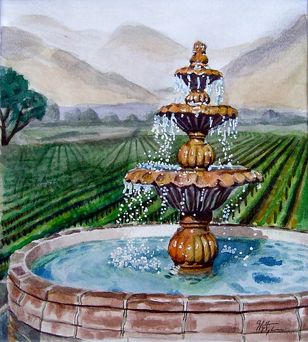 Fountain in the Temecula Vineyards