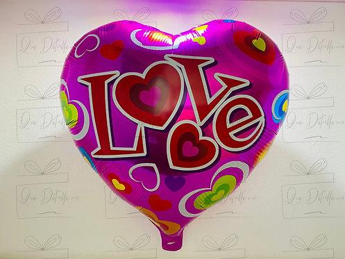 "Globo Corazón ""Love"" color Rosa"