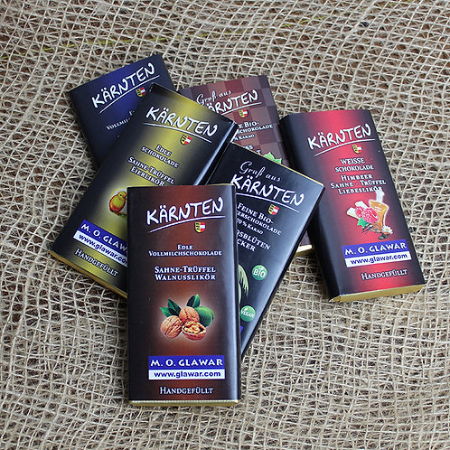 Glawar Schokolade - verschiedene Sorten