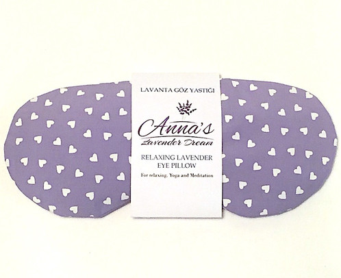 lavender eye pillow is filled with flax seeds and lavender buds from isparta turkey harvest