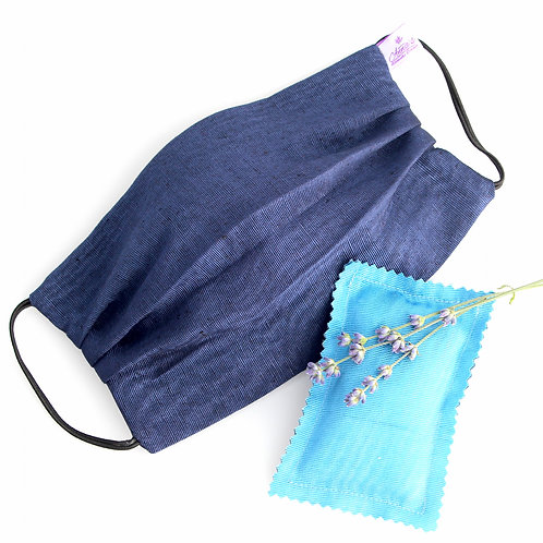 Washable Blue Silk Face Mask doubled with of 100% cotton fabric