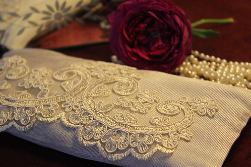 Silk Lavender Eye Pillow with Laces - Ivory front