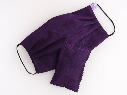 Washable Silk Face Mask Dark Purple doubled with of 100% cotton fabric
