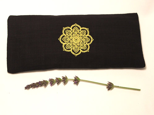 Relaxing Lavender Eye Pillow with Removable Cover Mandala - Yellow front view
