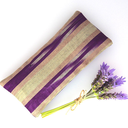 Relaxing Lavender Eye Pillow Ikat Silk Purple Gray Removable Sleeve front view