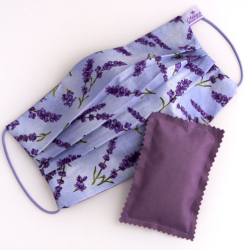 Washable Silk Face Mask Lavender doubled with of 100% cotton fabric Pocket