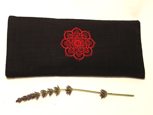 Relaxing Lavender Eye Pillow with Removable Cover Mandala - Red front view
