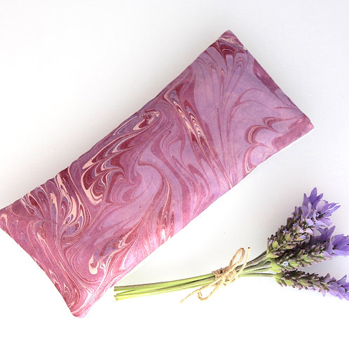 Relaxing Lavender Eye Pillow Marbled Silk Pink Cream Purple Removable Case Gift front view