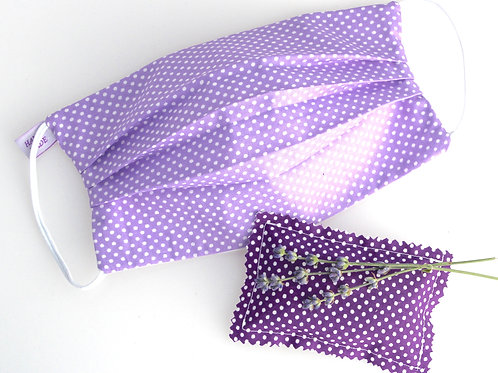 Washable Face Mask 2 layers of 100% cotton Filter Pocket Lavender Sachet