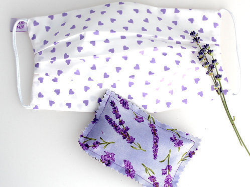 Washable Face Mask Purple Hearts doubled with of 100% cotton with Lavender