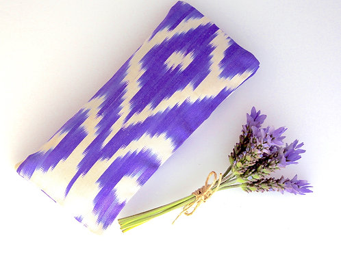 Relaxing Lavender Eye Pillow Uzbek Ikat Silk Purple White Washable Sleeve front view