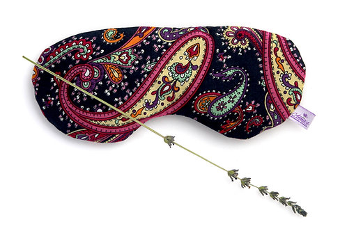 Relaxing Lavender Eye Pillow Turkish Oriental Design Cotton Black front view