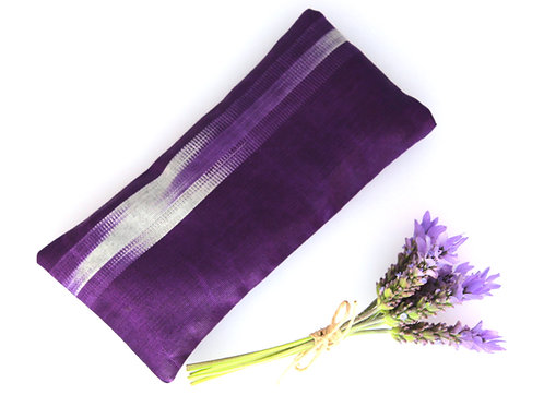 Relaxing Lavender Eye Pillow Uzbek Ikat Silk Purple Washable Sleeve front view