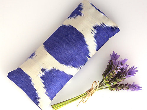 Relaxing Lavender Eye Pillow Uzbek Ikat Silk Blue White Washable Sleeve front view