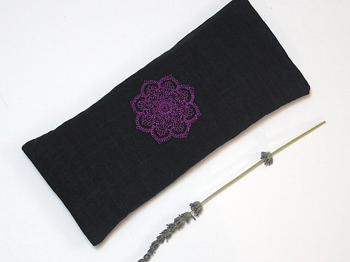 Relaxing Lavender Eye Pillow with Removable Cover Mandala - Purple front view