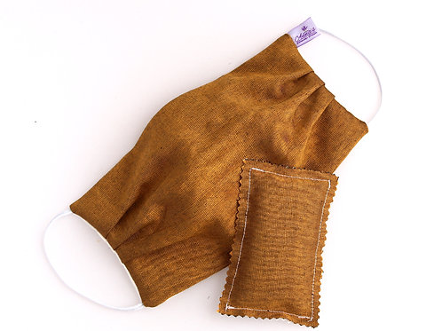 Washable Silk Face Mask Golden doubled with of 100% cotton fabric Wired
