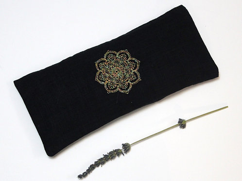 Relaxing Lavender Eye Pillow with Removable Cover Mandala - Golden front view