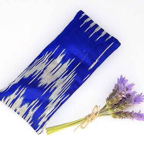 Relaxing Lavender Eye Pillow Uzbek Ikat Silk Blue Indigo Washable Sleeve front view