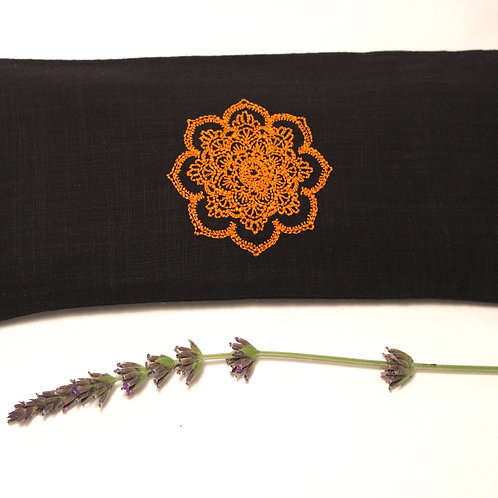 Relaxing Lavender Eye Pillow with Removable Cover Mandala - Orange front