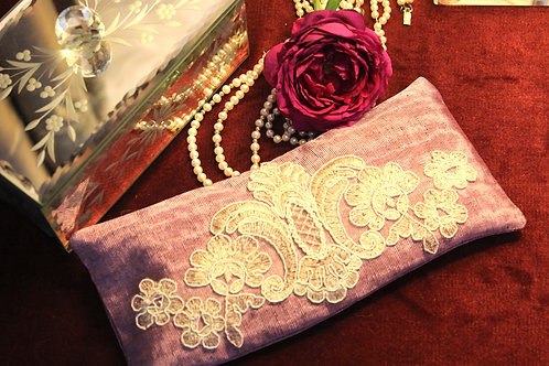 Silk Lavender Eye Pillow with Laces -Purple front