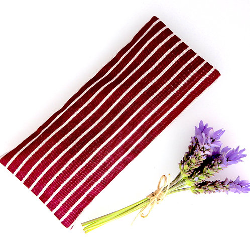 Relaxing Lavender Eye Pillow Ikat Silk Purple Stripes Removable Sleeve front view