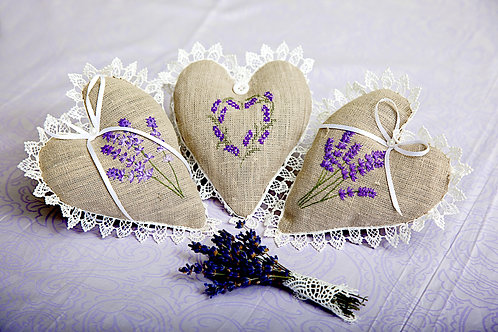 Lavender Linen Hearts with Cross Stitch heart