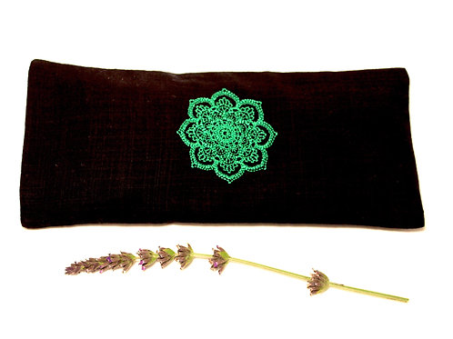 Relaxing Lavender Eye Pillow with Removable Cover Mandala - Green front view