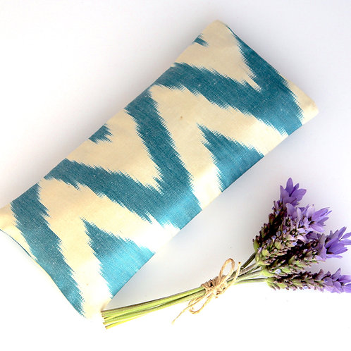 Relaxing Lavender Eye Pillow Uzbek Ikat Silk Turquoise Tilt White Washable front view