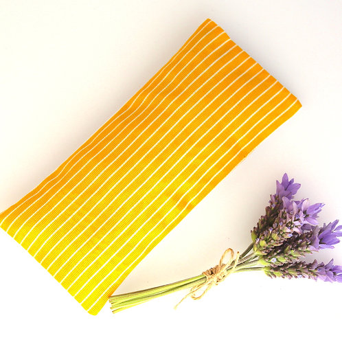 Relaxing Lavender Eye Pillow Ikat Silk Bright Yellow Removable Sleeve front view