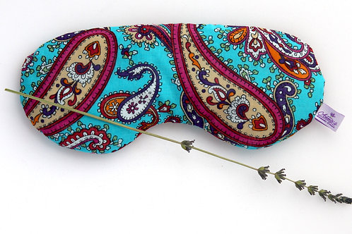 Relaxing Lavender Eye Pillow Turkish Oriental Design Cotton Turquoise front view