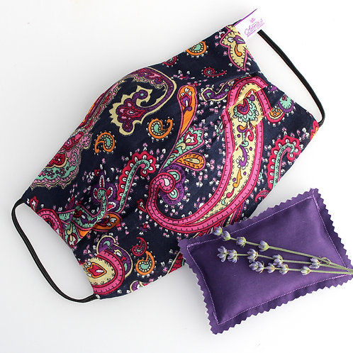 Washable Face Mask Oriental Design Lavender doubled with of 100% cotton fabric