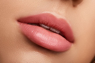 Perfect natural lip makeup. Close up mac