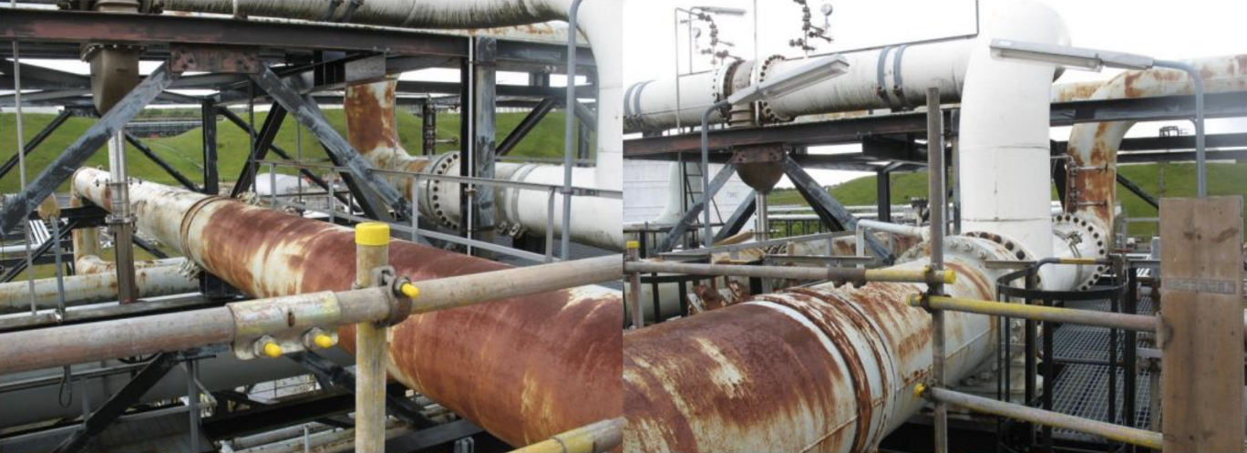 Rusting pipework at Mossmorran UK before application of STOPAQ corrosion protection