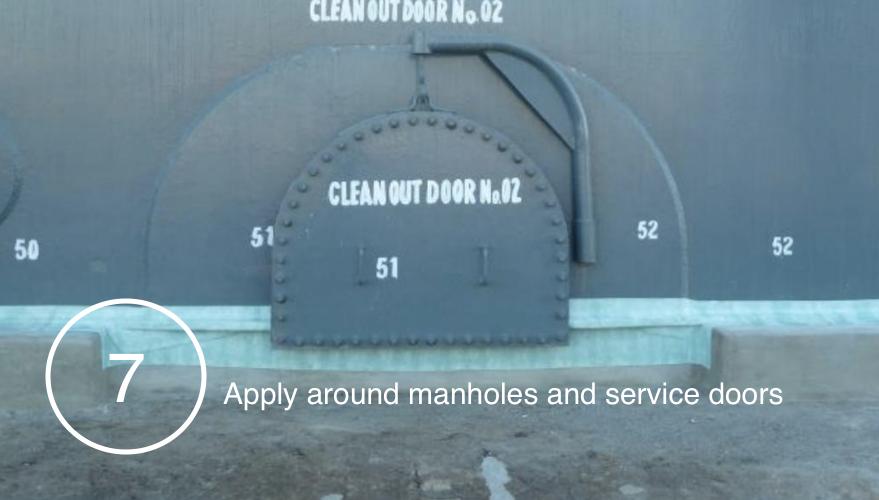 STOPAQ EZ applied around manholes and service doors.