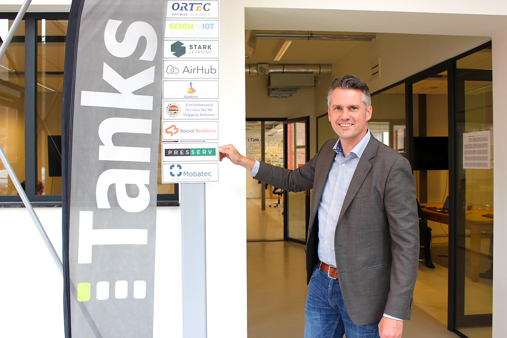 Kristian Fasel outside Presserv's new Benelux base at the iTanks Workspace at RDM, Rotterdam