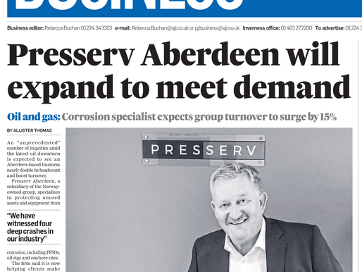 Industry recognises the need for Presserv Ltd's services at this difficult time for oil & gas