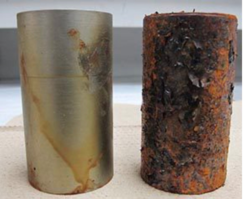 Coated pieces after 600 hours in ASTM B-117 salt fog testing. The VpCI-368 sample is on the left.