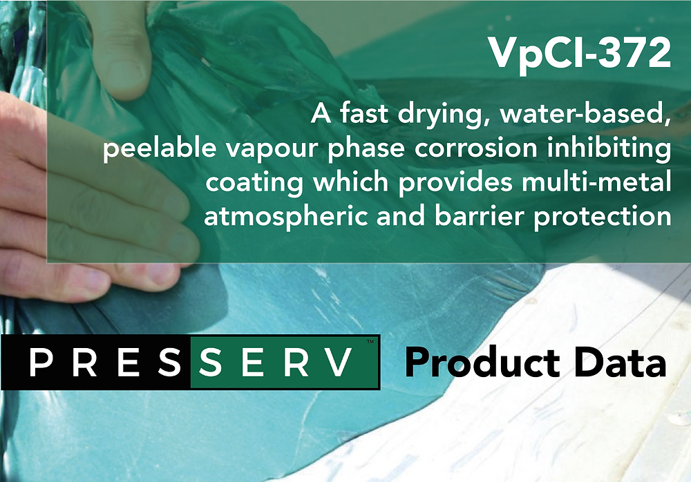 VpCI-372 corrosion inhibition technology in a peelable coating supplied by Presserv Aberdeen
