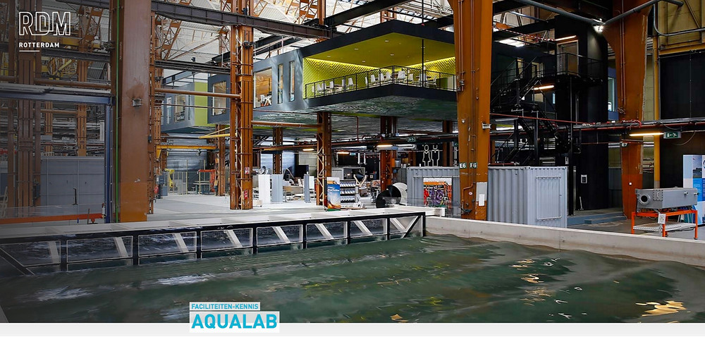 The hydrodynamic laboratory Aqua Lab at RDM comprises a 1m deep, 20×10 m water tank , which will be used by Rotterdam University Civil Engineering and Naval Architecture students but can also be used by companies.