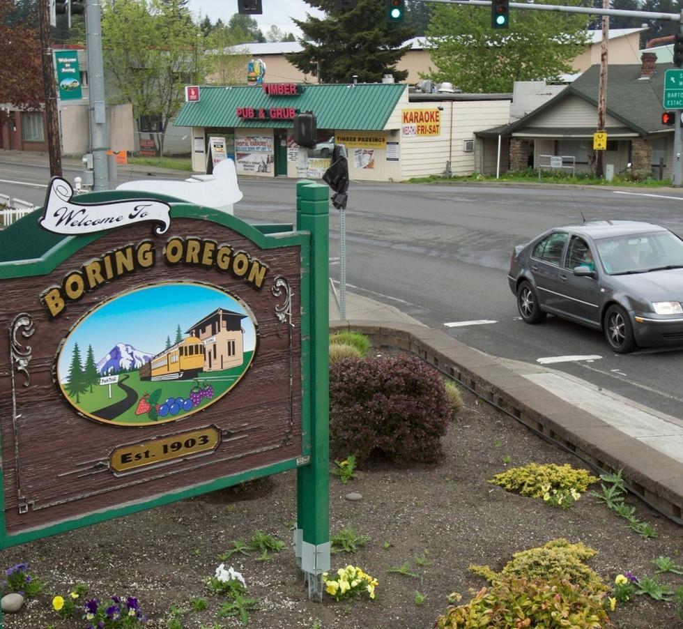 Boring Oregon Sign